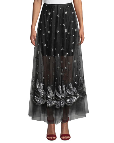 A-Line Tulle Skirt w/ Silvertone Embellishments