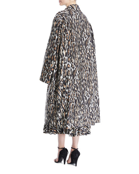 Oversized Leopard-Print Faille Swing Midi Coat