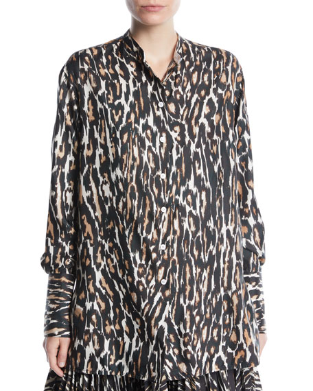 CALVIN KLEIN 205W39NYC Long-Sleeve Button-Front Leopard-Print