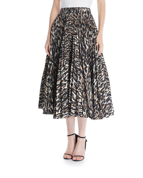 Leopard-Print Full-Circle Pleated Calf-Length Skirt in Brown