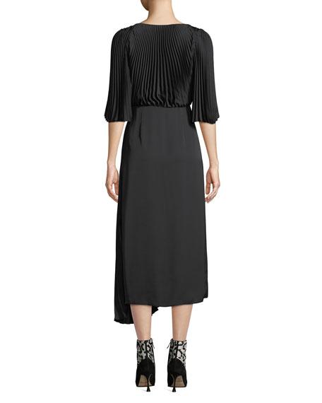 Pleated V-Neck A-Line Crepe Dress