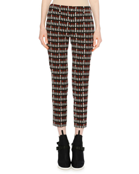 Lipstick-Print Skinny Wool-Blend Trousers, Black