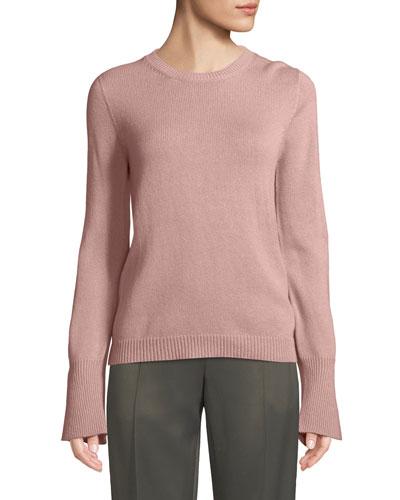 Crewneck Trumpet-Cuffs Cashmere Pullover Sweater
