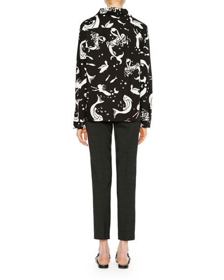 Siren Printed Long-Sleeve Collared Top