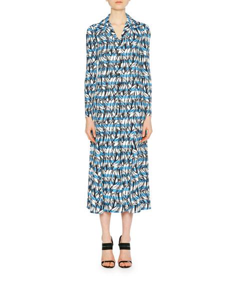 Banana Stripe Collared Midi Dress, Blue