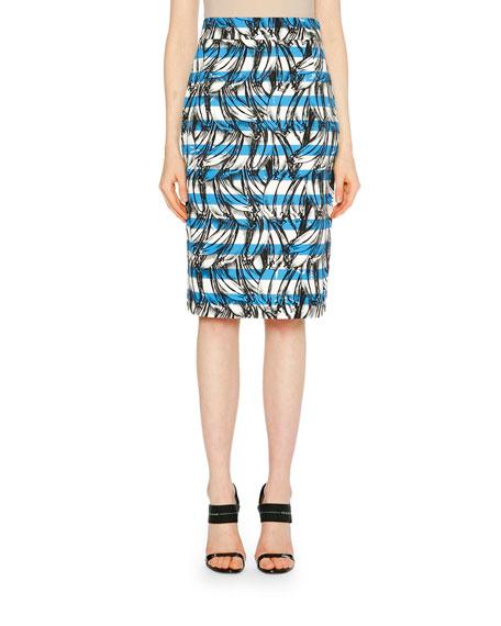 Banana Stripe Print Cotton Pencil Skirt in Blue