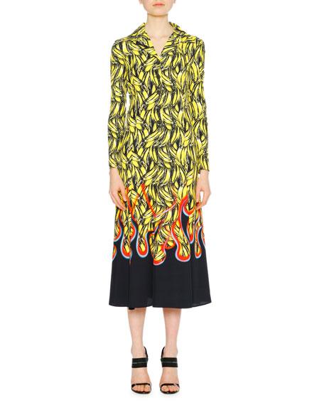 Banana Flame Collared Long-Sleeve Dress