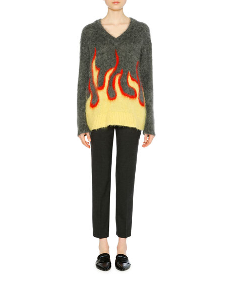 MOHAIR-BLEND FLAME INTARSIA V-NECK SWEATER