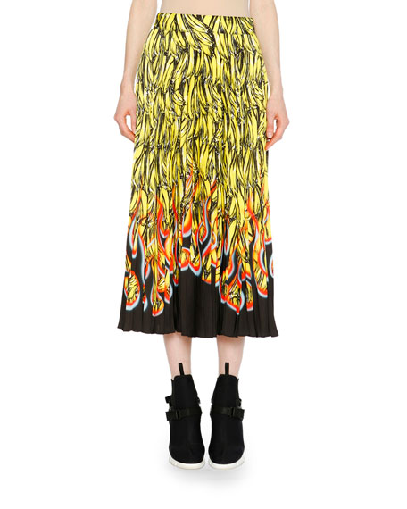 Banana Flame A-Line Ankle-Length Skirt