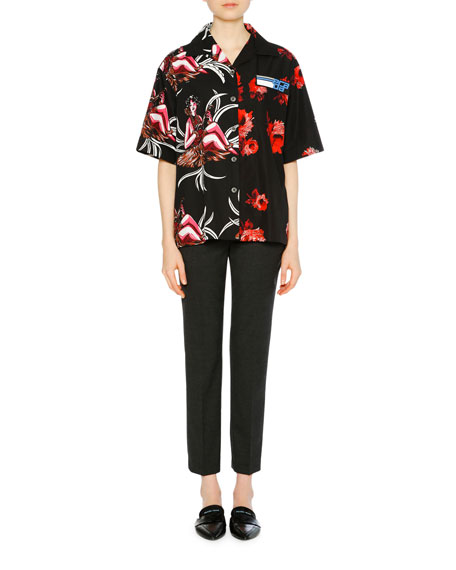 Hawaiian Girl & Rose Printed Collared Shirt, Red/Black