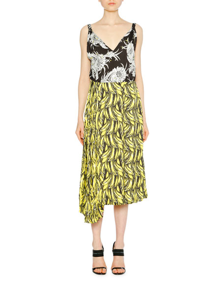 Banana & Flower-Print Sleeveless Dress