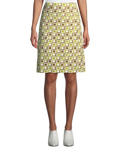 Geo-Print Cotton Faux-Wrap Skirt