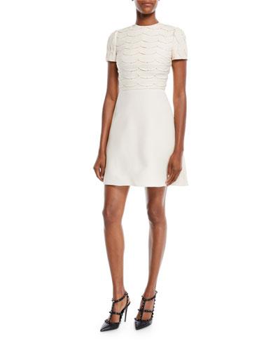 Short-Sleeve Scallop Crystal-Beaded A-Line Mini Cocktail Dress