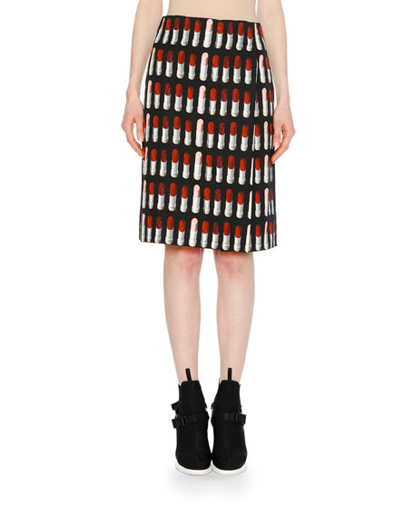 Lipstick-Print Cotton Canvas Foldover Skirt, Black