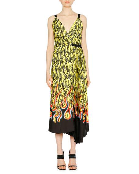 Banana Flame Sleeveless Wrap Dress