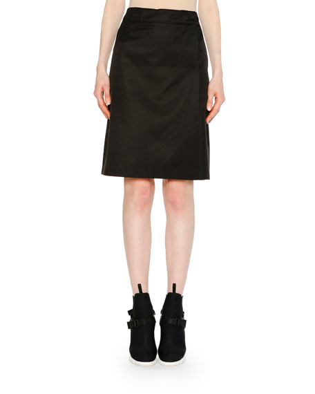 Logo-Plaque Wrap Skirt in Black