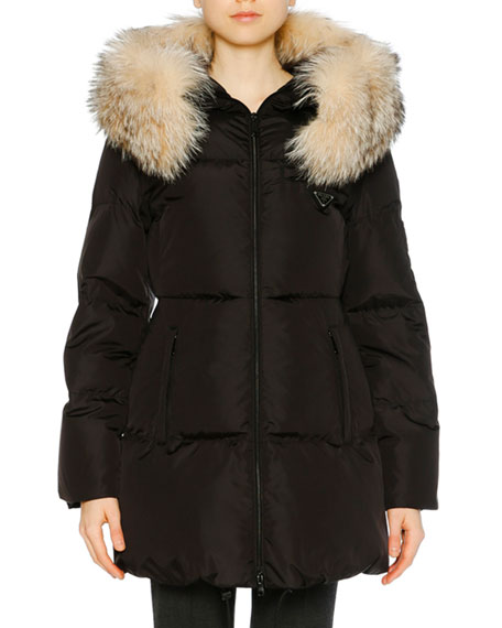 Fur-Trimmed Hooded Puffer Coat - Black Size 40 It