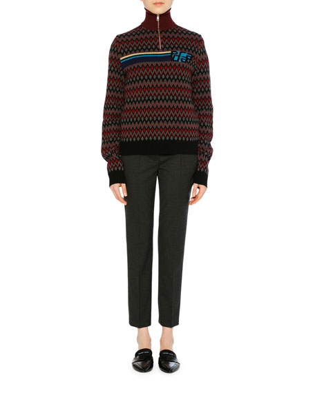 Stand-Collar Logo Chevron Wool-Cashmere Pullover Sweater