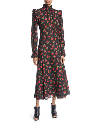 Mock-Neck Long-Sleeve Rose-Print Bias-Ruffle Silk Chiffon Long Dress