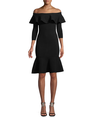 Rumba Off-the-Shoulder Ruffle Body-Con Knee-Length Dress