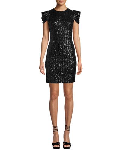 Cap-Sleeve Paillette Sheath Cocktail Dress