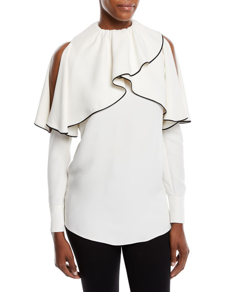 Cold-Shoulder Long-Sleeve Silk Cady Blouse in White