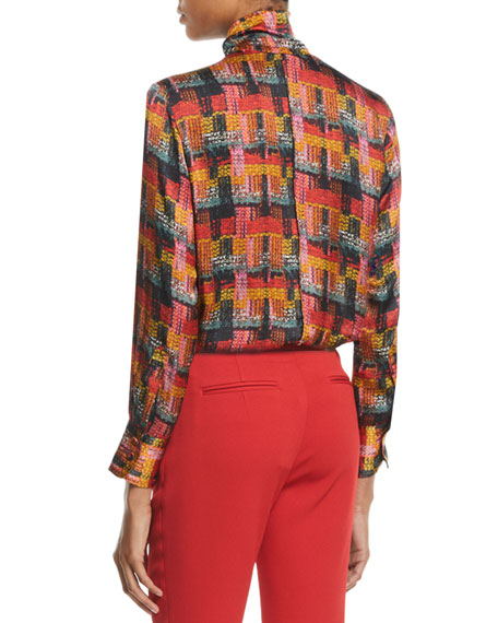 Button-Front Long-Sleeve Printed Blouse w/ Detachable Scarf