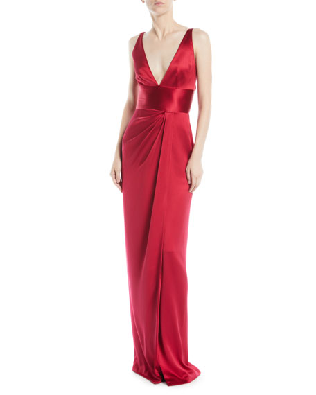 NAEEM KHAN Deep-V Sleeveless Silk Column Evening Gown in Red