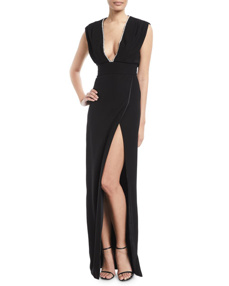 Monique Lhuillier Deep-V Sleeveless High-Slit Crepe Column