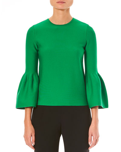 Crewneck Bell-Sleeve Knit Pullover Sweater