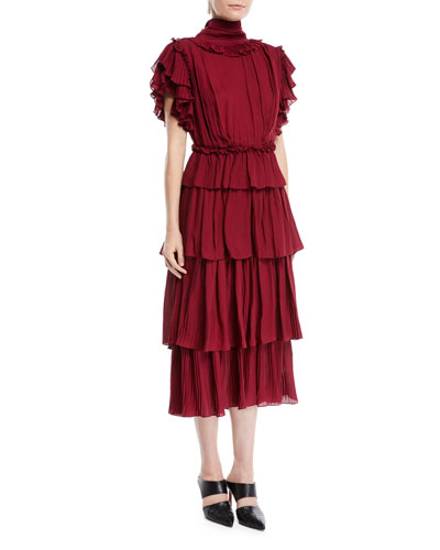 Chants Tiered Ruffle Georgette Dress