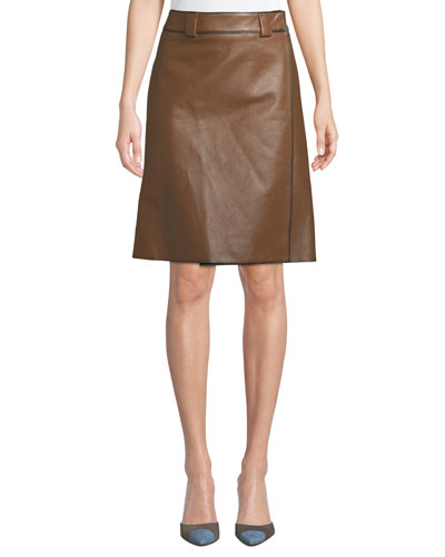 Faux-Wrap A-Line Leather Skirt
