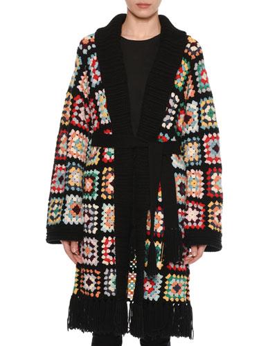 Multicolor Crochet Long Cashmere Cardigan w/ Self-Belt