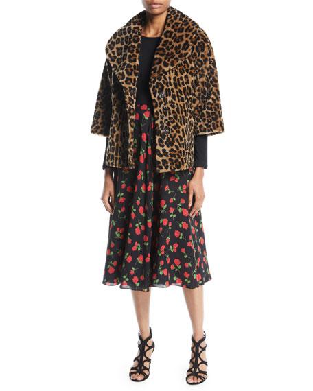 A-Line Rose-Print Silk Georgette Midi Skirt