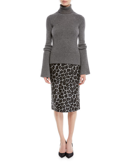c52f7e21fe Michael Kors Collection Turtleneck Bell-Sleeve Cashmere Pullover ...