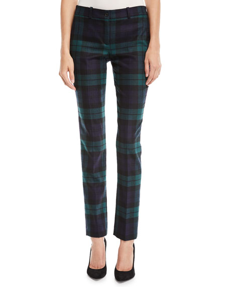Michael Kors Collection Samantha Straight-Leg Wool Plaid Pants