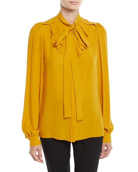 Michael Kors Collection Tie-Neck Gathered Button-Front Long-Sleeve Silk  Georgette Blouse bb972fca7e4e7