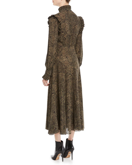 Mock-Neck Long-Sleeve Paisley Silk Georgette Dress