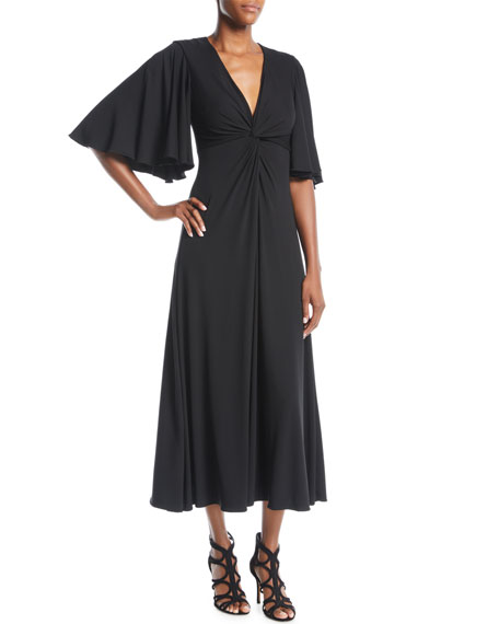 Crewneck Flutter-Sleeve A-Line Polka-Dot Midi Dress in Black