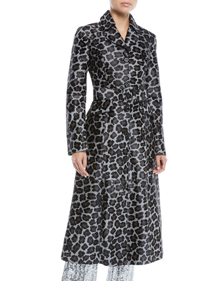 Button-Front Belted Leopard-Print Calf Hair Coat