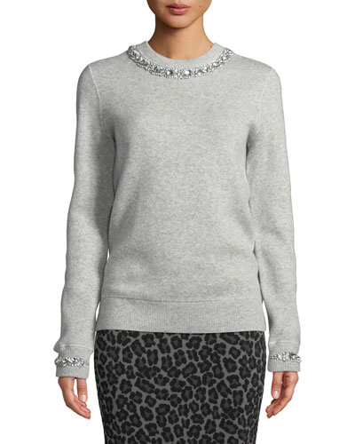 Crystalized-Necklace Crewneck Cashmere-Blend Sweatshirt