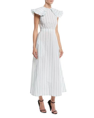 Ruffled-Shoulder Striped Cotton-Silk Long Dress