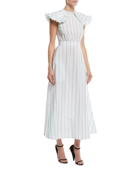 Ruffled-Shoulder Striped Cotton-Silk Long Dress