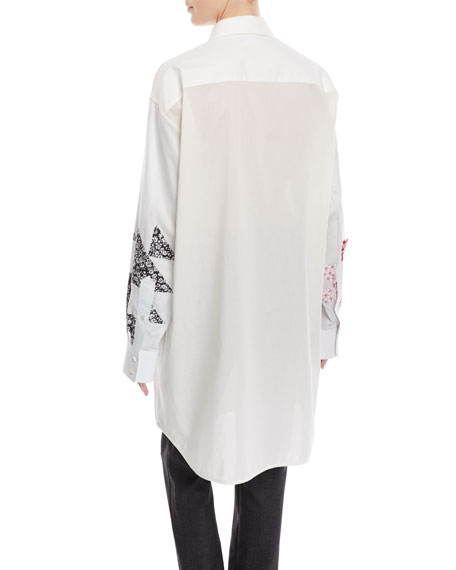 Patchwork Button-Front Long-Sleeve Oversized Shirtdress
