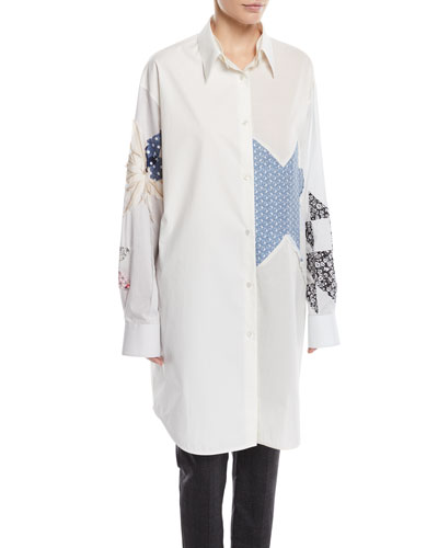 Patchwork Button-Front Long-Sleeve Oversized Shirtdress