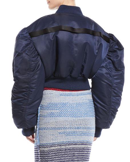 Oversized Dropped-Shoulder Cropped Nylon Bomber Jacket