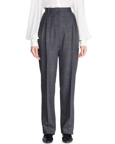 Brina High-Waist Tapered-Leg Wool-Blend Pants