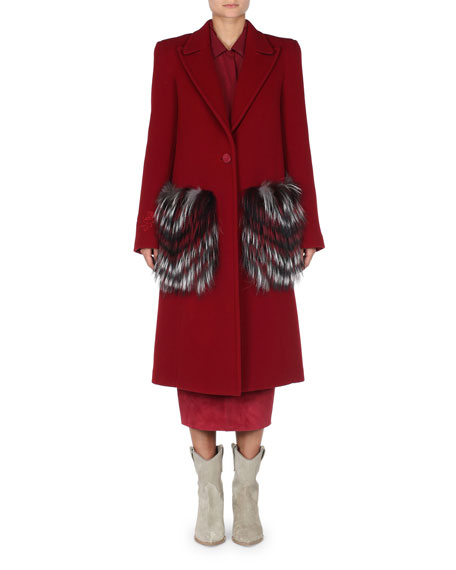 Fendi Fur-Pocket One-Button Fleece Wool Coat