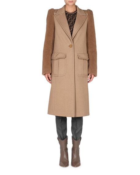 Fendi Teddy-Sleeve One-Button Camel Wool Men's-Style Coat