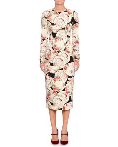 Long-Sleeve China Plate Print Cady-Stretch Body-con Dress